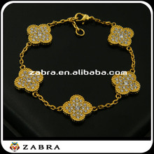 2015 hot sale 5 clover 18k gold bracelet with cubic zirconia bangle bracelets for women party jewelry the best gift