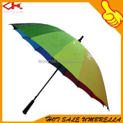 Top Quality Automatic Rainbow Umbrella Golf Colorful Umbrella With Printing Logo