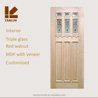 solid red walnut with veneer engineered wood glass door design