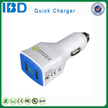 Electric type and high efficiency mobile phone use IBD 9V/`1.67A dual car QC 2.0 mobile charger wholesale for Samsung
