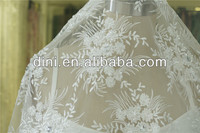 2015 new design white embroidered flowers DIY bridal dress embroidery fabric material handwork wedding fabric DN 12129-1