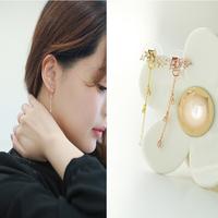 Hot Fashion Personality Metal Tassel elegant pure crystal earring chain in ear beautiful stud earring with AAA zircon