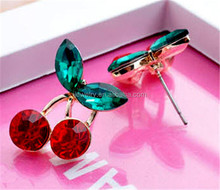 Wholesale factory price cartoon cherry shape stud earrings for lady