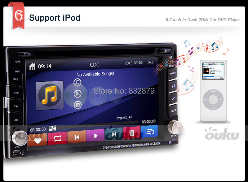 100% New universal Car Radio Double 2 din Car DVD Player GPS Navigation In dash Car PC Stereo Head Unit video+Free Map+Free Cad!