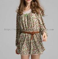 Latest longsleeve pullover allover flower design dress