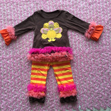 Lovely Baby Girls Cotton Thanksgiving Outfit Girls Full Sleeve Top And Stripe Pant Set Childrens Fall Clothing Set