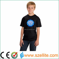 New arrival music sound activated gift Iroman kids led t-shirts