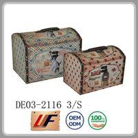 Handicraft Storage Trunks Colorful Custom Tag Shape Box Wooden Toys