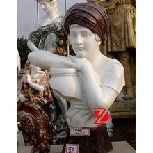 marble man bust sculpture with kerchief