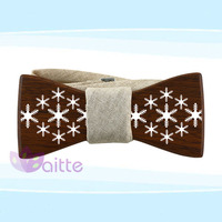 paypal payment accepct ,fashion Chrismas gift snow painting Wooden bow ties handcrafted for men