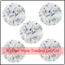 Silver and white Wedding Engagement Party Hanging Fluffy Tissue Paper Ball Decoration
