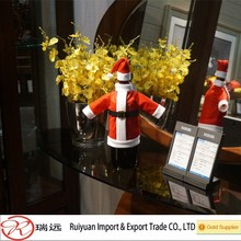 Hot sale high quality Christmas Santa costume wine bottle cover for promotion