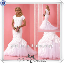 QQ801 White fit and flare ruffled bodice new model imported wedding dresses with short sleeves custom made wedding gowns 2014