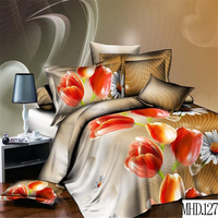 Luxury reactive flower printed bed linen set 100% polyester twin duvet cover comforter set cheap king size 3d bedding set