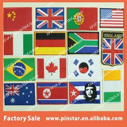 Cheap Custom Made Small National Flag Embroidery Patch with Iron On or Adhesive Velcro