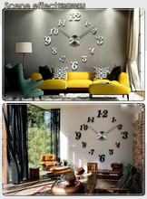 2015 DIY Large Wall Clock 3D Mirror Surface Sticker Home Office Decor Luxury Wall Clock Factory