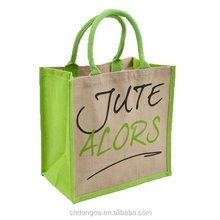 Printed Handle 100g Shopping tote jute bag with zipper