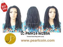 Hot Sale Superior Medium 1B 100% Synthetic Fiber Hair Twisted Braid Flame Retardant Lace Wigs