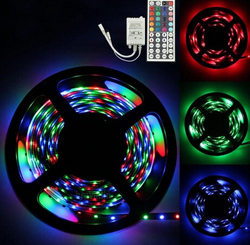 3528 RGB 5SMD 5M/Roll 16.5ft 300Led 60Led/M Flexible Waterproof Strip Lamp Lights+12v Power Supply Adapter+LED 44Key Controller