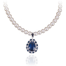 High level blue stone necklaces jewelry 2015 fancy glass necklace fashion philippines pearl jewelry for bridal