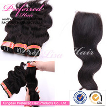 100% Brazilian Human Hair Closures 18'' 1B# Body Wave Style Light Brown Swiss Lace Closure Piece Accept Paypal Payment