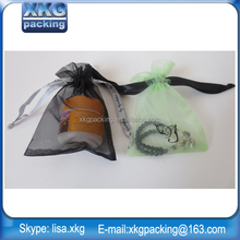 wholesale cheap shipping organza gift bag/pouch for bracelet jewelry/wine,with ribbon printed logo
