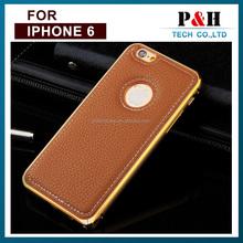 Latest design Metal Case Cover aluminum case bumper and leather for Apple iPhone 6 iPhone 6 Plus6 Plus