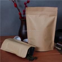 Custom logo kraft paper bag stand up pouch with zipper tea packaging