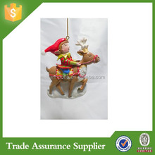 Resin Elf Riding Reindeer Christmas Tree Ornaments Decoration New
