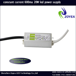 LED dimmable led driver, 600ma 20w led power supply