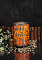 Chinese Style Garden Decorative Metal Lantern Solar Lantern With Butterfly Cutout And PVC Foil