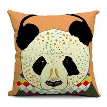 2014 new design cotton and linen fabric panda baby cushion