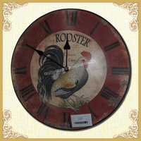 Cottage style antique clock,ROOSTER THEME