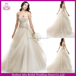QQ3142 ball gown strapless puffy tulle cheap champagne wedding gown
