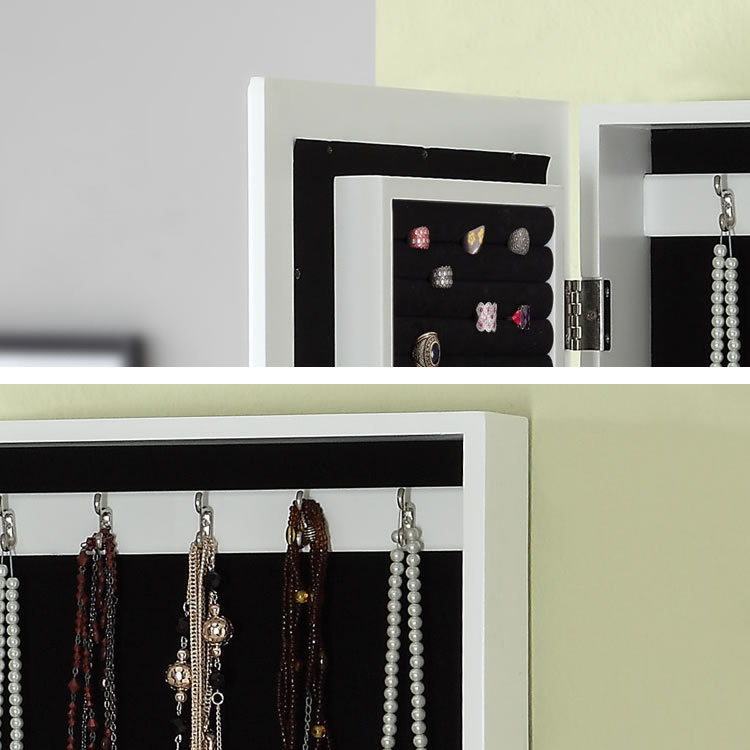 brown wall-mounted dressing mirror, jewelry storage armoire