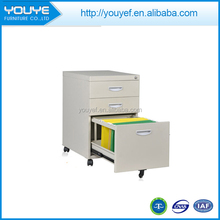 Attractive and durable 3 drawers stainless mobile filing cabinet with wheels produced by China manufacturer