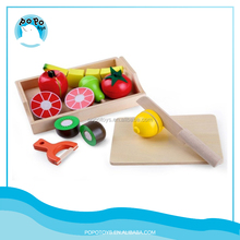 Wooden fruits for kid play role cutting fruits