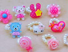 Hot Fashion Lovely pearl rings cartoon printed resin children rings