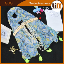 new design high quality pure cotton flora printing scarf geometry printing silk scarf