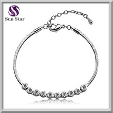 Hot New product fashion silver bracelet jewelry with round crystal