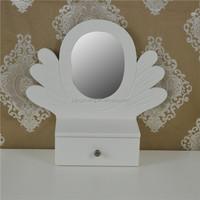 novelty fashion natural Wood desktop mirror