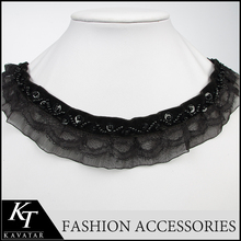 Kavatar brand New arts and crafts black neckline applique / chiffon lace collar