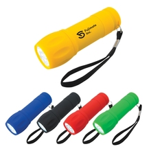 Promotional Rubberized Small LED Torch Light With Strap
