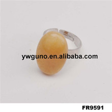 Yellow Stone Silver Ring Lucky Stone Ring, Ring Stone Model