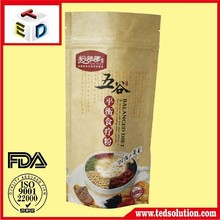 laminated kraft paper bag stand up pouch with zipper line attached for rice