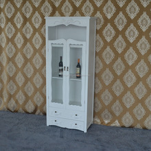Wood glass display cabinet living room 2 doors wine cabinet