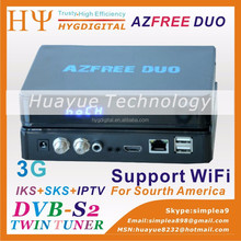 Satellite decoder azfree duo 3G iks sks satellite receivers for south america