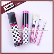 Color Pop Makeup Brush Kit For Kids Mini 3pcs Brush Set With Metal Box Aluminium Case