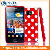 Set Screen Protector And Case For Samsung Galaxy S2 I9100 , Colorful Polka Dots Gel Cover