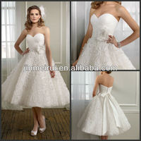 Beautiful Pleat Strapless Flowers Sashes Ribbon Covered Button Organza A-Line Empire Mid-Calf Wedding Dress